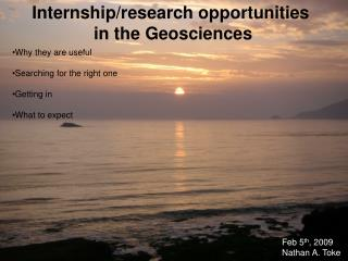 Internship/research opportunities  in the Geosciences