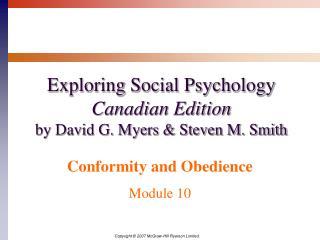 Exploring Social Psychology Canadian Edition by David G. Myers & Steven M. Smith