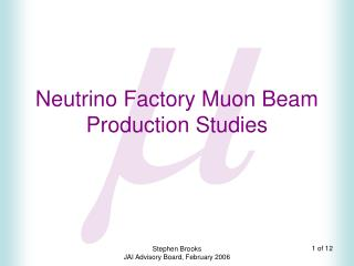 Neutrino Factory Muon Beam Production Studies