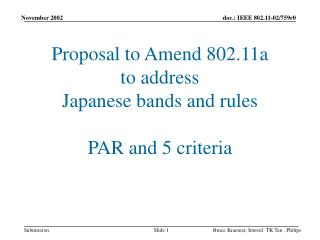 Proposal to Amend 802.11a  to address  Japanese bands and rules PAR and 5 criteria