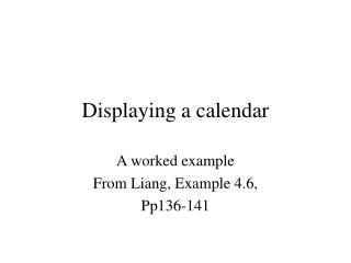 Displaying a calendar