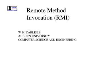 W. H. CARLISLE AUBURN UNIVERSITY COMPUTER SCIENCE AND ENGINEERING