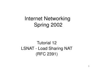 Internet Networking   Spring 2002