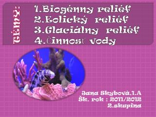 1.Biogénny reliéf 2.Eolický  reliéf 3.Glaciálny  reliéf 4.Činnosť vody