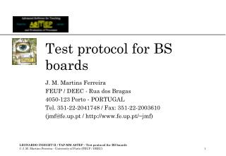 Test protocol for BS boards