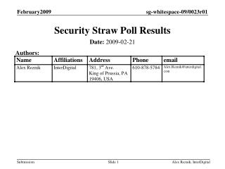 Security Straw Poll Results