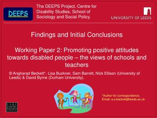 Findings and Initial Conclusions  Working Paper 2: Promoting positive attitudes towards disabled people   the views of s