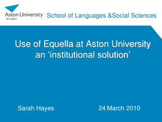Use of  Equella  at Aston University an 'institutional solution'