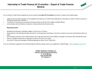 Internship in Trade Finance (6-12 months) – Export & Trade Finance Geneva