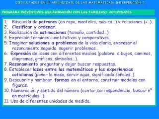 DIFICULTADES EN EL APRENDIZAJE DE LAS MATEMÁTICAS: INTERVENCIÓN-1
