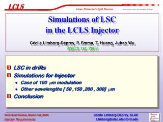 LSC in drifts Simulations for Injector  Case of 100   m modulation