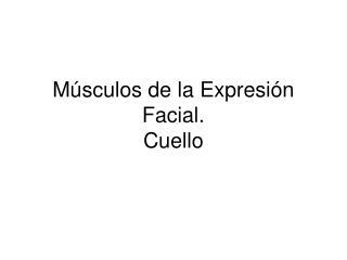 Músculos de la Expresión Facial. Cuello