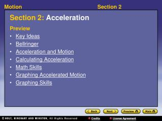Section 2:  Acceleration