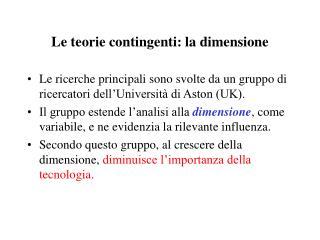 Le teorie contingenti: la dimensione
