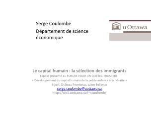 Le capital humain : la sélection des immigrants