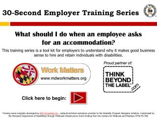 30-Second Employer Training Series