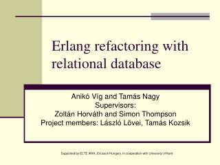Erlang refactoring with relational database