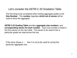 Let's consider the ASTM C-33 Gradation Table