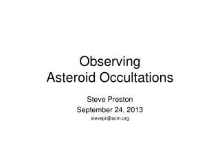 Observing Asteroid Occultations