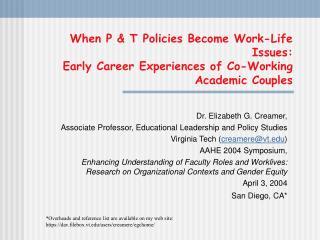 Dr. Elizabeth G. Creamer, Associate Professor, Educational Leadership and Policy Studies
