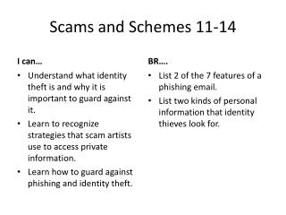 Scams and Schemes 11-14