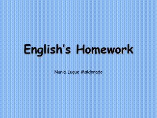 English's Homework