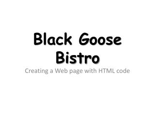 Black Goose Bistro