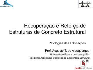 Recuperação e Reforço de Estruturas de Concreto Estrutural  Patologias das Edificações