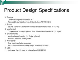 Product Design Specifications