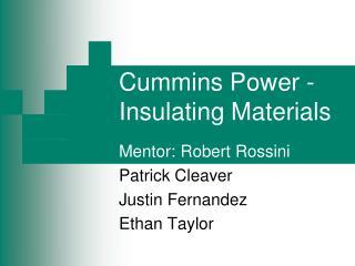 Cummins Power - Insulating Materials