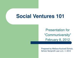 Social Ventures 101