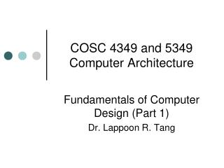 COSC 4349 and 5349