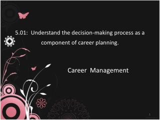 5.01:  Understand the decision-making process as a component of career planning.