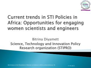Bitrina Diyamett Science, Technology and Innovation Policy Research organization (STIPRO)