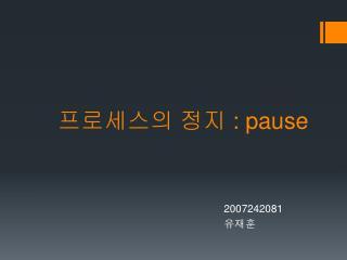 프로세스의 정지  : pause