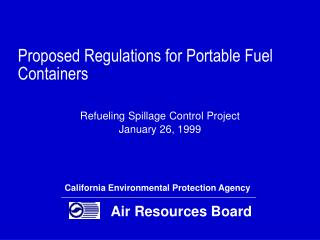 Proposed Regulations for Portable Fuel Containers