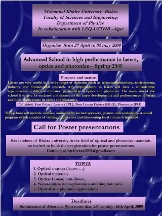 Advanced School in high performance in lasers,  optics and photonics – Spring 2009