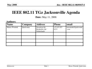 IEEE 802.11 TGz Jacksonville Agenda