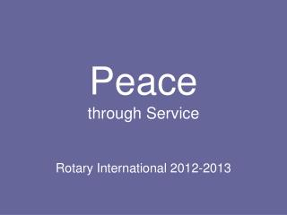 Peace through Service