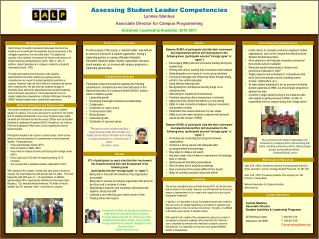 Assessing Student Leader Competencies Lynnae Stankus Associate Director for Campus Programming