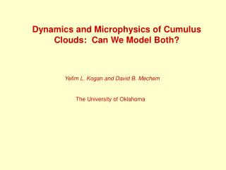 Dynamics and Microphysics of Cumulus Clouds:  Can We Model Both?