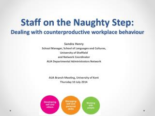 Staff on the Naughty Step:  Dealing with counterproductive workplace behaviour