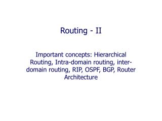 Routing - II