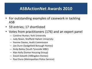 ASBActionNet  Awards 2010