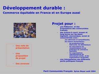Développement durable: Commerce équitable en France et en Europe aussi