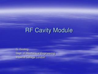 RF Cavity Module