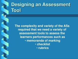 Designing an Assessment Tool
