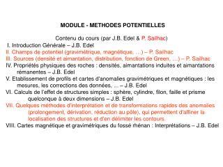 Contenu du cours (par J.B. Edel &  P. Sailhac )