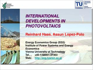 INTERNATIONAL DEVELOPMENTS IN PHOTOVOLTAICS Reinhard Haas, Assun Lopez-Polo