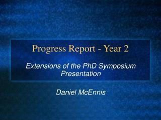 Progress Report - Year 2